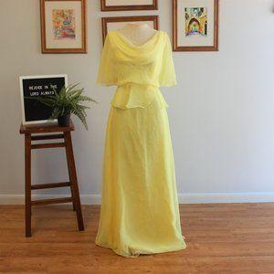 Vintage 1970s Yellow Grecian Maxi Dress Sz XS